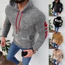 Fashion Letters Printed Long Sleeve Hooded Man's Sweatshirt