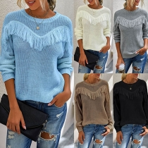 Fashion Solid Color Round Neck Long Sleeve Tassel Sweater