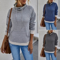 Fashion Contrast Color Long Sleeve Cowl Neck Sweatshirt