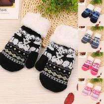Cute Elk Pattern Faux Fur Spliced Knit Gloves for Kids