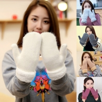 Fashion Solid Color Plush Flanging Knit Gloves