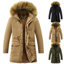 Solid Color Hooded Plush Lining Drawstring Waist Man's Warm Padded Coat