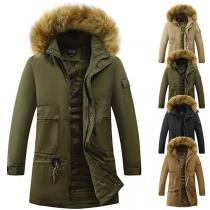 Simple Style Long Sleeve Faux Fur Spliced Hooded Man's Padded Coat