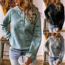 Casual Style Long Sleeve Hooded Solid Color Sweatshirt