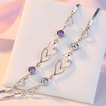 Bracelet Coeur de Strass à la Mode