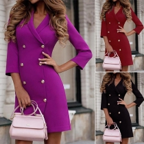 OL Style 3/4 Sleeve Notched Lapel Double-breasted Long Blazer