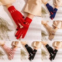 Cute Cat Pattern Touch Sensitive Knit Gloves
