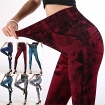 Legging Extensible Imprimé Taille Haute