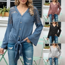 Fashion Lace Spliced Long Sleeve V-neck Lace-up Hem Top