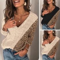 Fashion Leopard Spliced Long Sleeve V-neck Knit Top