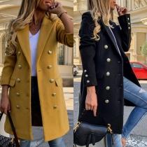 Manteau en Laine Mélangée à Double Boutonnage à Manches Longues