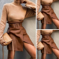 Fashion High Waist Slit Hen PU Leather Skirt with Waistband
