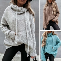 Fashion Solid Color Long Sleeve Hooded Loose Sweater