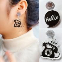 Creative Style Telephone Shaped Asymmetric Earrings