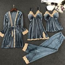 Ensemble de Vêtements de Nuit Quatre Pièces: Top à Bretelles + Robe à Bretelles + Pantalon + Robe