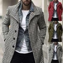Manteau à Carreaux pour Homme à la Mode à Manches Longues