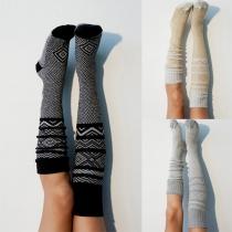 Chaussettes en Maille à Imprimé de Mode