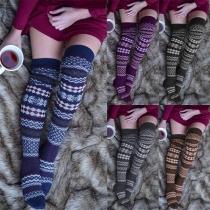 Chaussettes en Tricot au-dessus du Genou Imprimées à la Mode