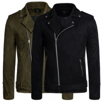 Manteau pour Homme à Fermeture à Alissière Oblique à Manches Longues de Couleur Unie