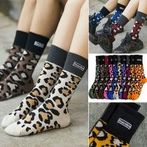 Chaussettes à Imprimé Léopard de Couleur Contrastante à la Mode