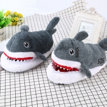 Pantoufles en Peluche en Forme de Requin de Style Mignon