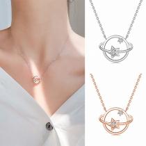 Fashion Rhinestone Inlaid Planet Pendant Necklace