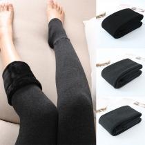 Fashion Solid Color High Waist Plush Lining Stockings Pantyhose