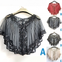 Chic Style Sequin Spliced See-through Gauze Shawl