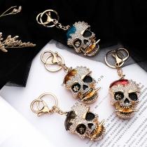 Creative Style Rhinestone Inlaid Skull Head Shaped Key Chain