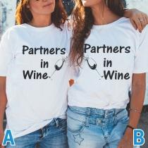 T-shirt Besties à Manches Courtes et Manches Courtes