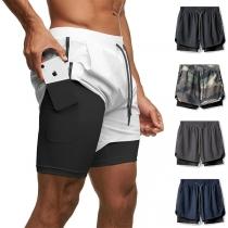 Casual Style Drawstring High Waist Man's Sports Shorts