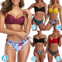 Sexy Low-waist Printed Push-up Bikini Set