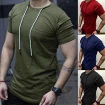 Fashion Solid Color Short Sleeve Drawstring Round Neck Man's T-shirt
