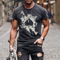 T-shirt pour Homme à Manches Courtes et Col Rond de Style Décontracté