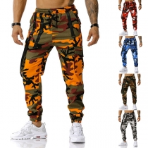 Sports Style Drawstring Elastic Waist Camouflage Printed Man's Casual Pants