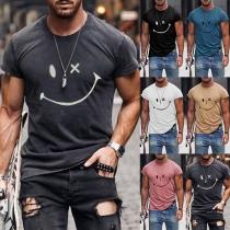 T-shirt pour Homme à Manches Courtes et à Col Rond de Style Décontracté