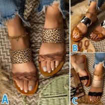 Sandales Imprimées Léopard à Talon Plat à la Mode