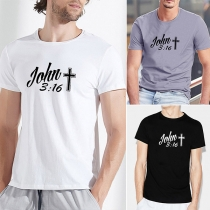 Casual Style Short Sleeve Round Neck Cross Letters Printed Man's T-shirt