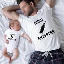 Vêtements de T-shirt pour Parents-enfants à Col Rond Manches Courtes Style Décontracté