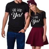T-shirt de Couple Imprimé