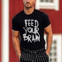 T-shirt pour Hommes à Manches Courtes avec Lettre Imprimer