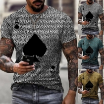 Casual Style Short Sleeve Round Neck Spades A Printed Man's T-shirt