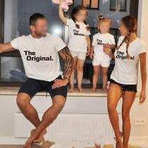 T-shirt Imprimé Parent-enfant à Manches Courtes et Col Rond de Style Décontracté