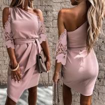Sexy One-shoulder Lace Spliced Short Sleeve Irregular Hem Pink Dress