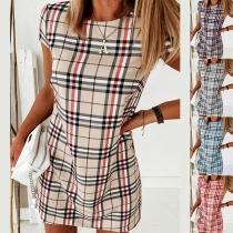 Fashion Short Sleeve Round Neck Slim Fit Plaid Dress