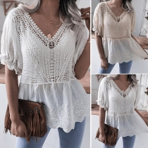 Casual Style Short Sleeve V-neck Hollow Out Lace Top