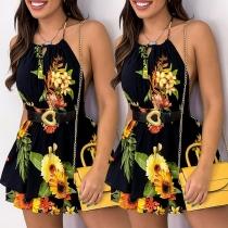 Sexy Off-shoulder High Waist Sunflower Printed Slim Fit Halter Dress