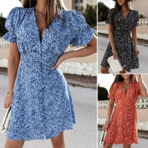 Sweet Style Puff Sleeve V-neck High Waist Printed Dress