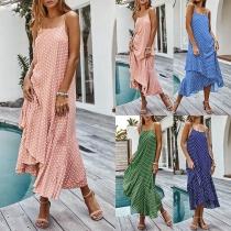 Bohemian Style Backless Ruffle Hem Dots Printed Sling Dress