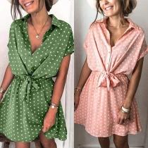 Bohemian Style Short Sleeve POLO Collar Lace-up Waist Dots Printed Shirt Dress